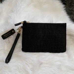 New! River Island Leather Fur Wristlet